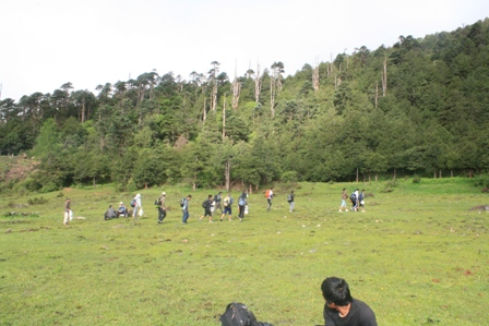 team in the middle of the jungle in Bhutan