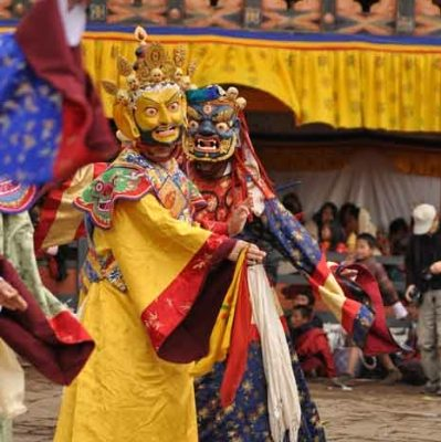 group-mask-dancer-of-bhutan